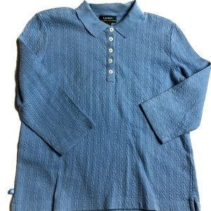 Lauren Ralph Lauren Blue 1/2 Button Up Blouse L